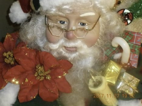 Graphic close up of Santa Claus